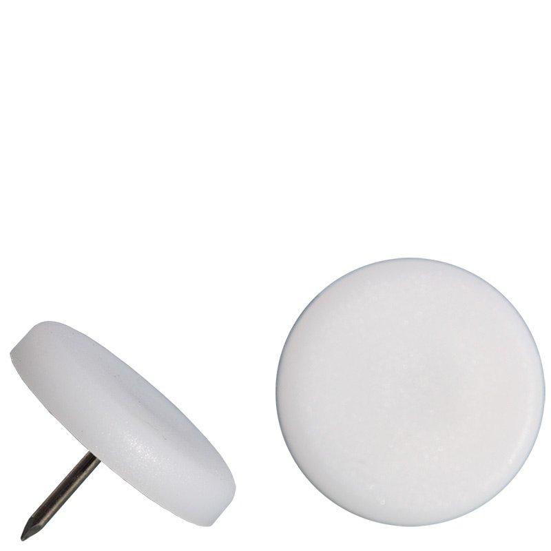 24 x Möbelgleiter Kunststoff Ø 18 mm Nagel Stuhlgleiter Kunststoffgleiter weiß