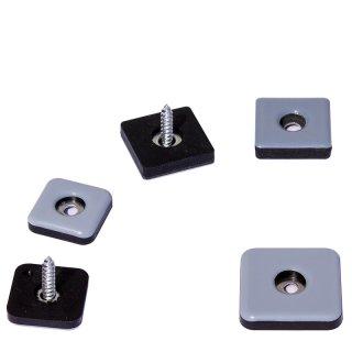 PTFE Teflongleiter eckig 19191 Gleiter zum Schrauben für Stahlrohrmöbel quadratisch