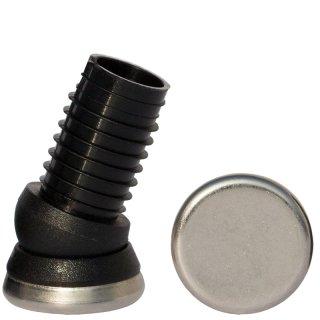 Metall Gelenkgleiter 171601 Metallgleiter - Stuhlgleiter für Stahlrohrstühle mit Rundrohr schräg