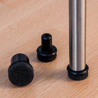 Filzgleiter rund mit Pin 182571 Parkettgleiter mit Filz für runde Rohre - Stahlrohr Stühle