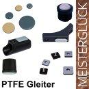 Teflongleiter rechteckig 2 Pin SM19290 PTFE Kufengleiter eckig | Bodenschoner fuer Schulmöbel zum Einsetzen in Bohrungen