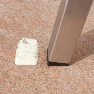 Schräger quadratischer Gartenstuhl Fußstopfen GM152713 weißer Kunststoff Gleiter für quadratische Rohre Garten Stühle