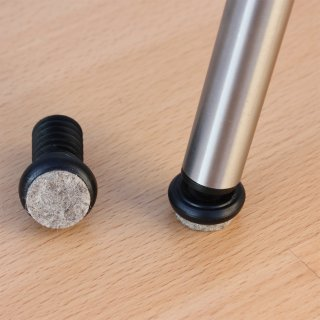 Filzgleiter für Stahlrohrstühle 18151-Filz Gelenkgleiter | Stuhlbeine schräg - runde Rohre