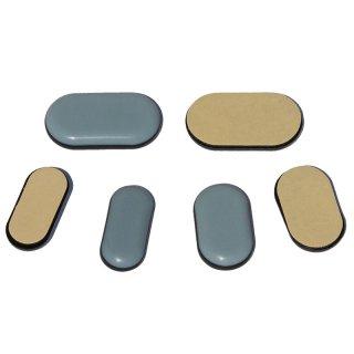 PTFE Gleiter pad oval 19119 Teflongleiter als Bodenschoner zum Kleben fuer Holzmöbel und Stahlrohrstühle mit rechteckigem Rohr